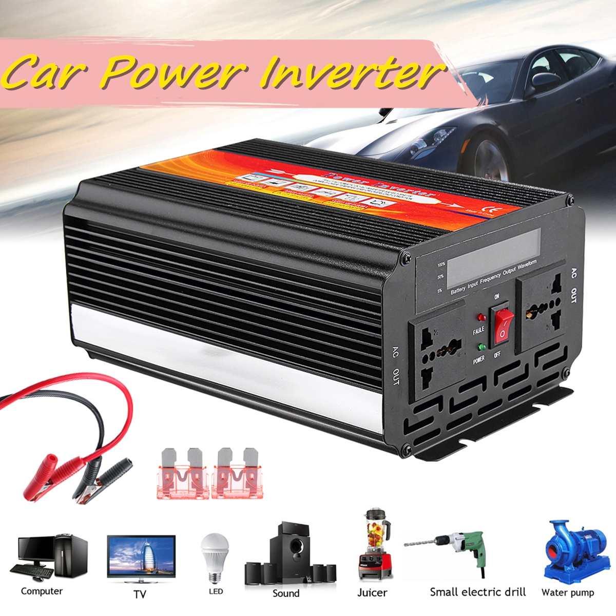 5000W Car Inverter DC 12/24V To AC 220/110V Modified Sine Wave Converter + Fuse Piece Car Voltage Power Converter Adapter