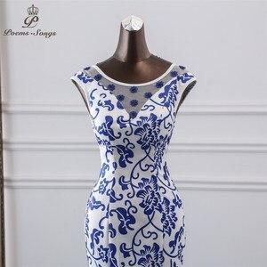 Image 4 - Gedichte Songs 2019 China abendkleid blau blume elegante party kleid meerjungfrau kleid abendkleid robe longue soiree