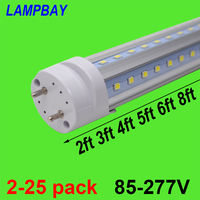 2 25pcs V shaped LED Tube Lights 2ft 3ft 4ft 5ft 6ft Retrofit Fluorescent Bulb Super Bright 24 36 48 60 70 T8 G13 Bar Lamp