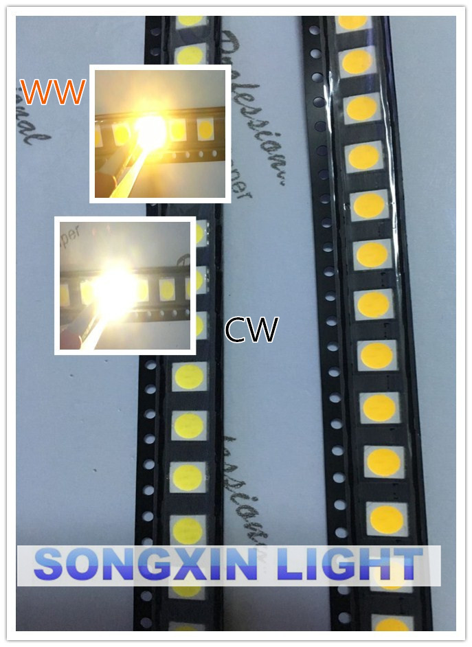 2019 Latest Design 100pcs 5050 White/warm White Smd/smt Led Plcc-6 3-chips 5050 Smd Led 60ma Mid-power 10-18lm 0.2w Diodes