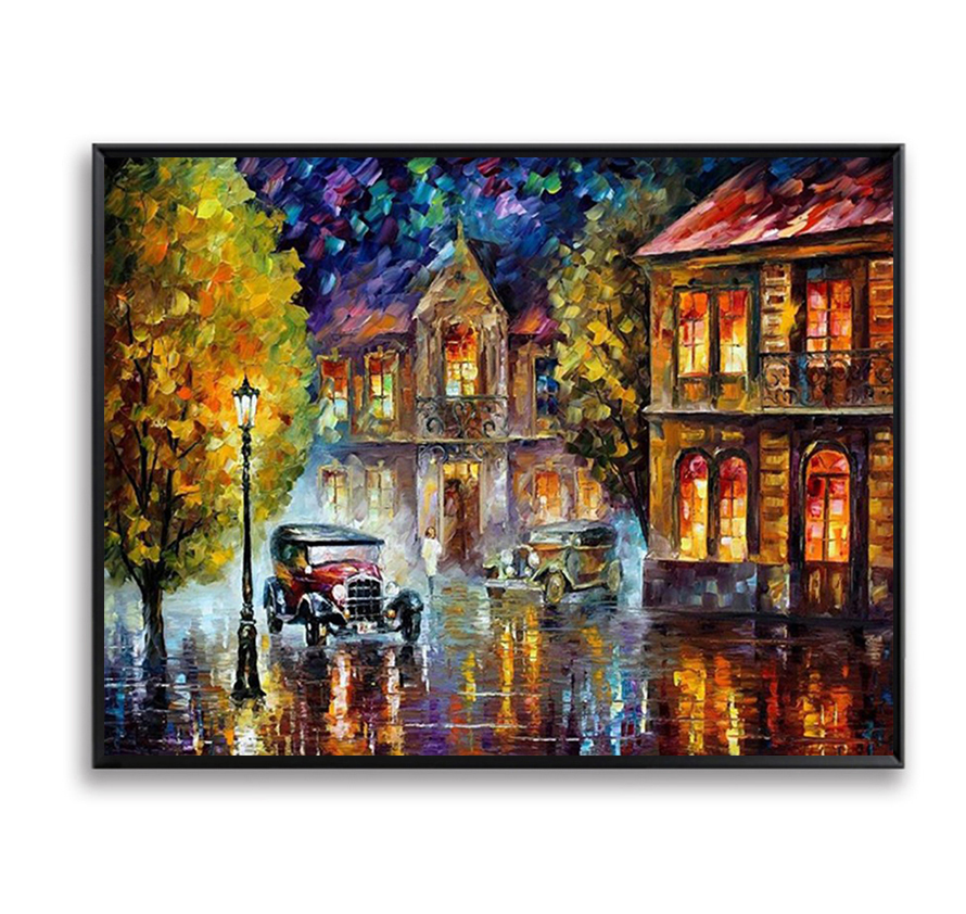 City Night Scene Wall Painting By Numbers DIY Hand Painted Coloring Wall Picture For Liv ...
