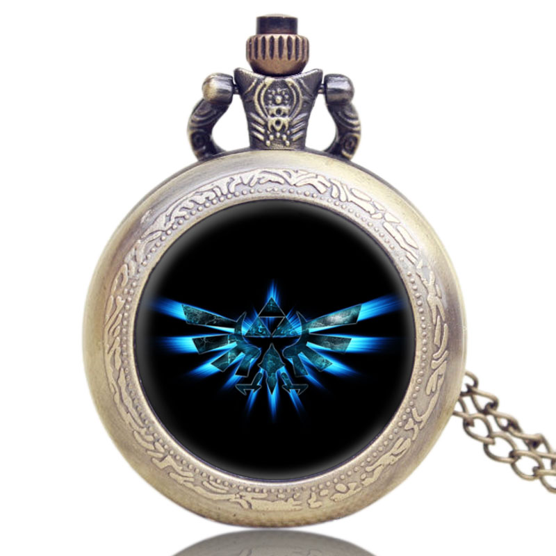 Vintage Pocket Watches The Legend Of Zelda Bronze Quartz Watch Necklace Men Woman Charm Fob Pocket Watch Chain Gifts