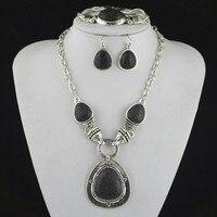 S1S5 Lava Stone Ketting Hanger & Earring & Armband per Set Jewlery Set, vrouwen, Vintage Look, Tibet, groothandelaar