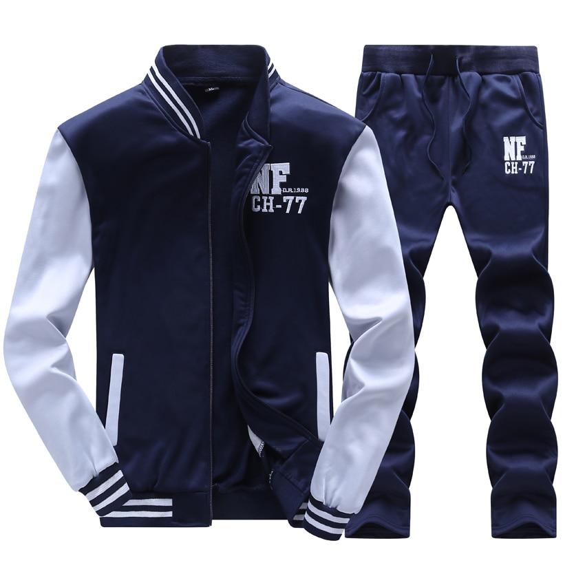2017 Hoodie Spring Summer Mens Hoodies&Sweatshirts Men Tracksuit 2pcs Sportisuit Sportswear Patchwork Jacket+Pant