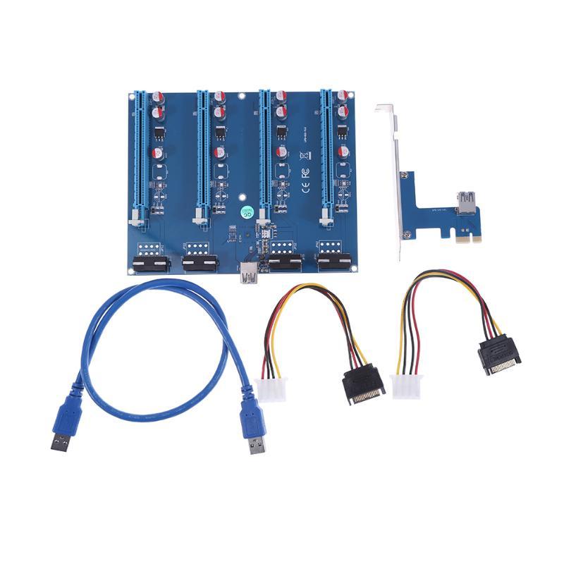 PCI-E X1 TO 4PCI-E X16 Expansion Kit 1 to 4 Port PCI Express Switch Multiplier HUB 4pin molex Riser Card for BTC Miner Mining адаптер dell qlogic 2562 dual port 8gb fibre channel hba pci e x8 full profile kit 406 bbek