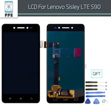 Original LCD Screen For Lenovo Sisley LTE S90 LCD Display Touch Screen Digitizer Glass Pantalla Replacement Assembly Black White