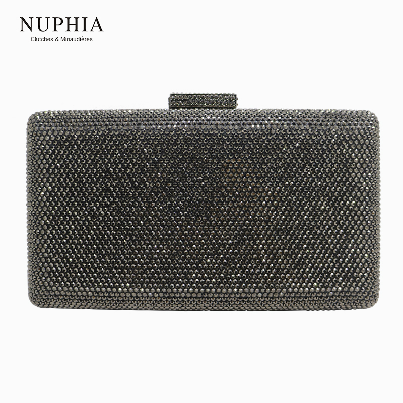 NUPHIA New Large Size Evening Hard Box Clutch Crystal Clutches and Evening Bags Gray Black Gold