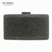 NUPHIA New Large Size Evening Hard Box Clutch Crystal Clutches and Evening Bags Gray/Black/Gold