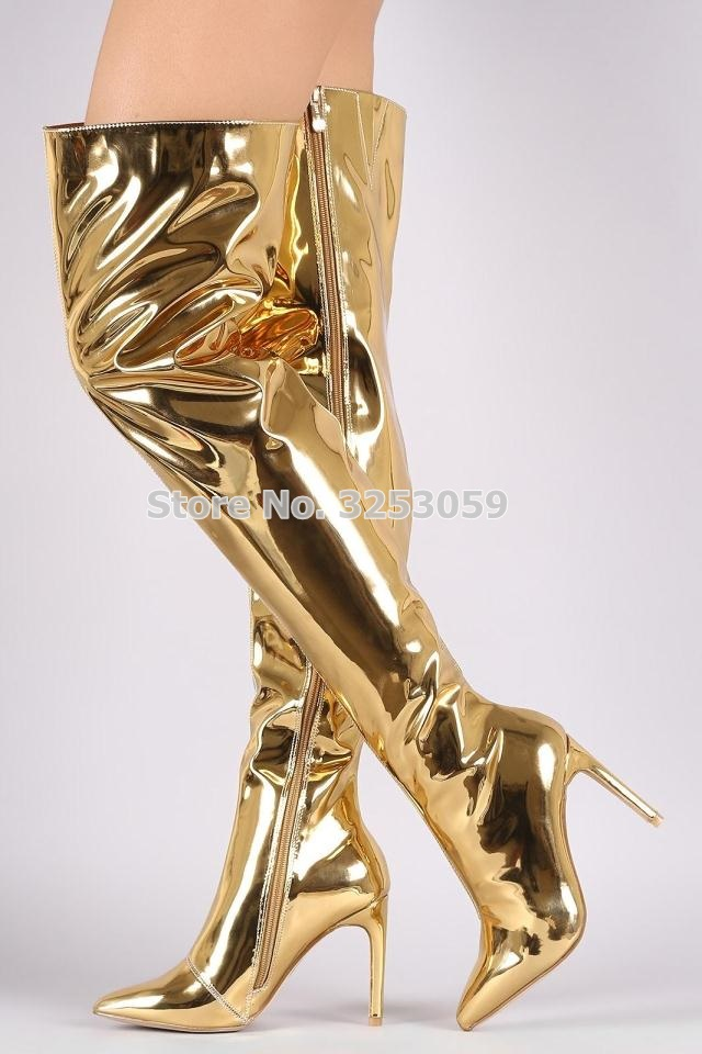 ALMUDENA Gold Champagne Black Patent Leather Thigh High Long Boots Women Over The Knee Mirror Leather Gold Heels Gladiator BootsALMUDENA Gold Champagne Black Patent Leather Thigh High Long Boots Women Over The Knee Mirror Leather Gold Heels Gladiator Boots