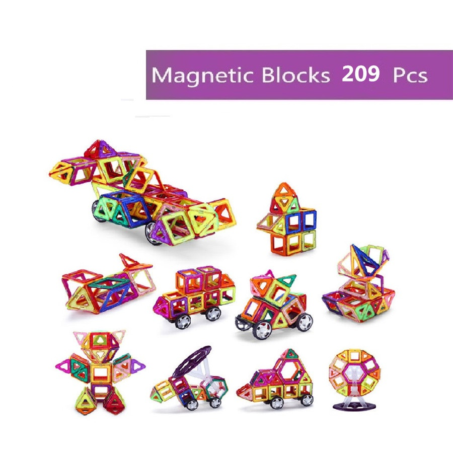 209pcs Magnetic Designer Construction Set Model Preschool Skills& Magnetic Blocks DIY Toy Bricks  Educational Toys For Kids Gift 62pcs set magnetic building block 3d blocks diy kids toys educational model building kits magnetic bricks toy