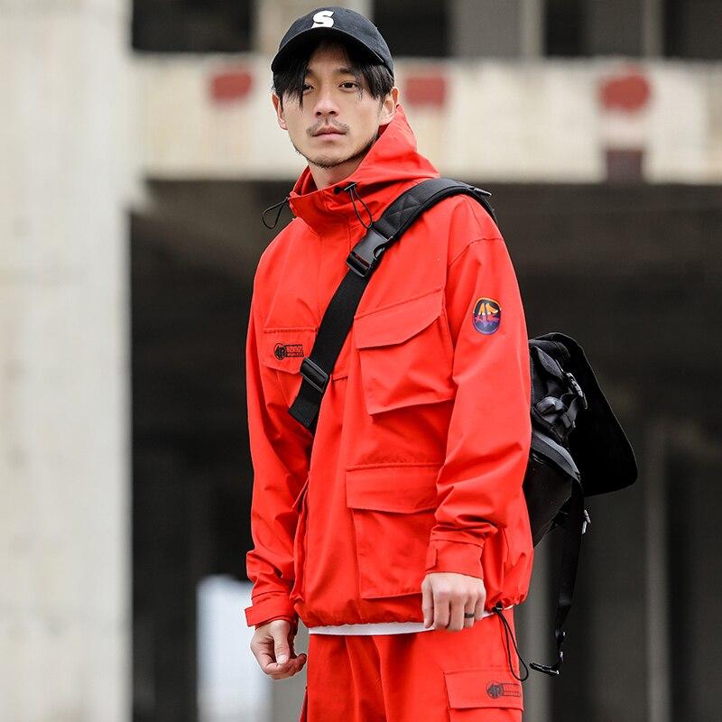 Для мужчин Multi-карман оснастки пуловер куртка с капюшоном японский Стиль мужской моды  ...