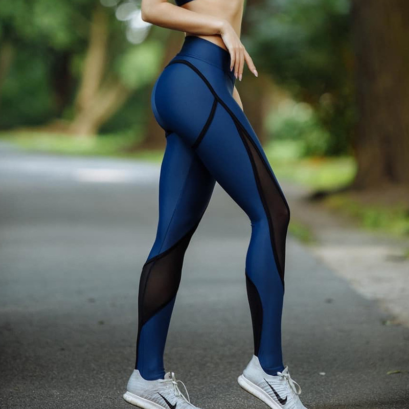 NORMOV Sexy Women Patchwork Mesh Leggings Summer High Waist Fitness Stretch Leggings Trousers Leggin For Women
