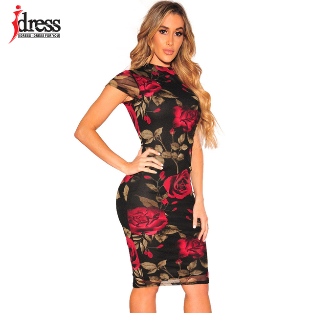 IDress 2018 Women Short Sleeve Slim Bodycon Dress Vintage 50s Floral Swing  Summer Office Dress Sexy Sheath Fitted Pencil Dress 48ecf569b3ac
