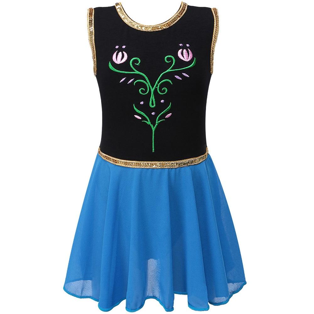 BAOHULU 3-12 Years Girls Sleeveless Gymnastics Leotard Girl Embroidered Ballet Dance Costume Kids Elsa Dress Ballet Leotards
