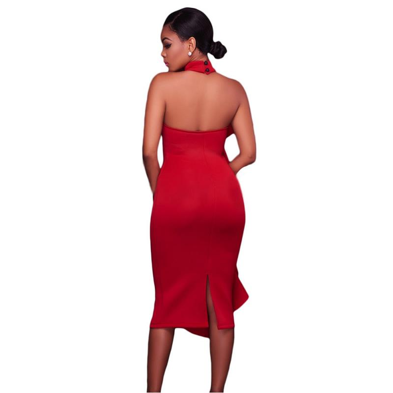 ADEWEL 2017 Women Big Ruffles Midi Elegant Dress Sexy Open Back Bodycon Party Dress High Neck Vintage Pencil Dress 13
