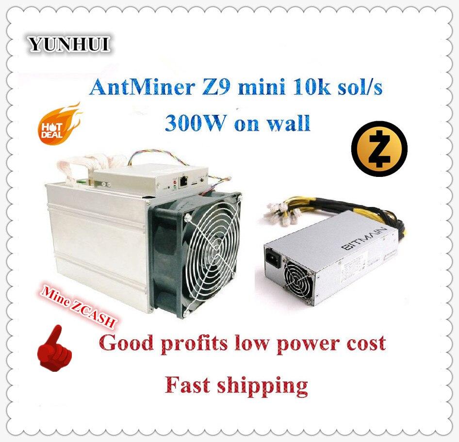 ¡Nave en 24 horas! ZCASH Miner Antminer Z9 Mini 10 k Sol/s 300 W con Bitmain APW7 1800 W fuente de alimentación, buenas ganancias