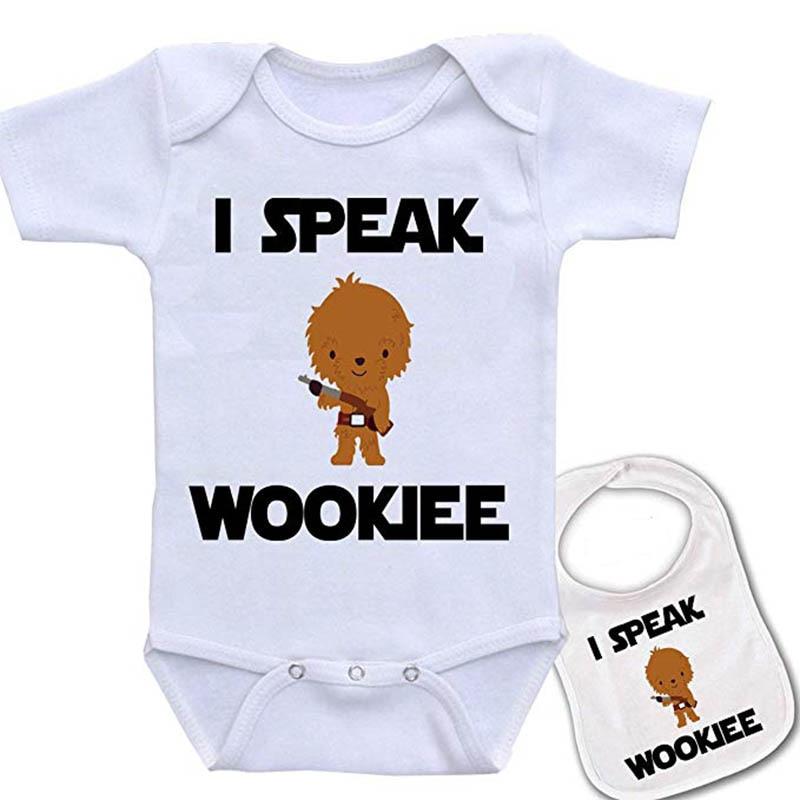 Culbutomind  I Speak Wookee Custom Printed Star Wars Baby bodysuit and Matching bib gift showingCulbutomind  I Speak Wookee Custom Printed Star Wars Baby bodysuit and Matching bib gift showing