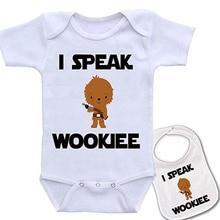 Culbutomind  I Speak Wookee Custom Printed Star Wars Baby bodysuit and Matching bib gift showing