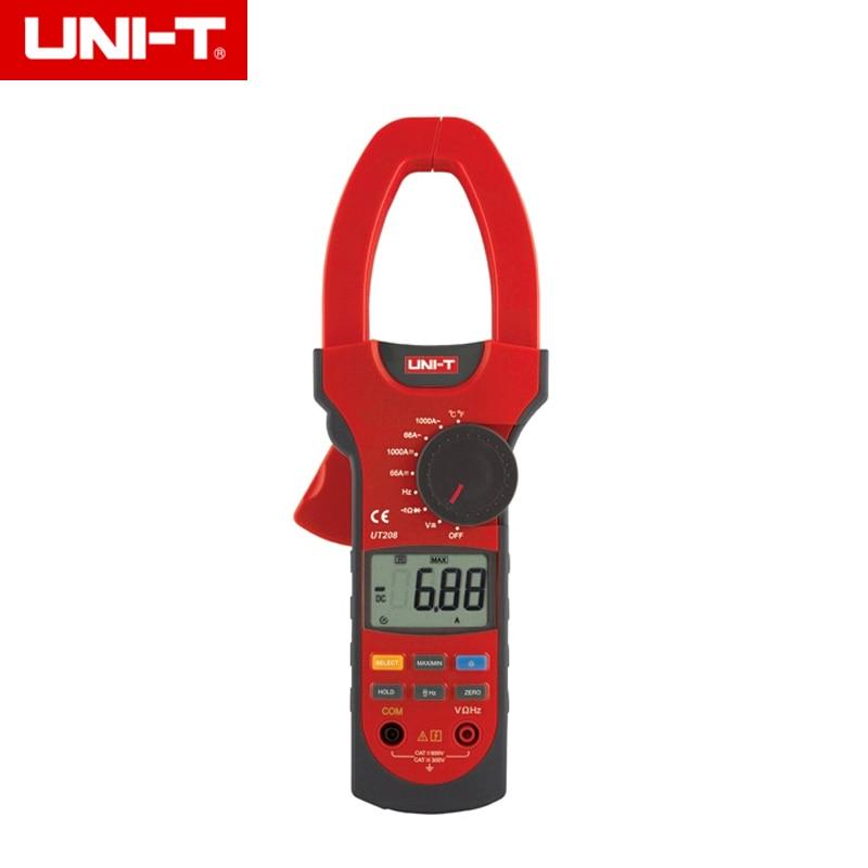UNI-T UT208 6666 Counts LCD Clamp Digital Multimeter AC DC Voltage Amp Ohm Temp Tester 1000A uni t ut204a lcd digital clamp multimeter