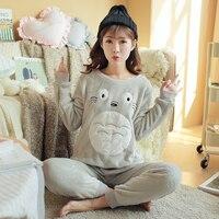 Women Winter Autumn Pajamas Sleepwear Cartoon Breathable Flannel Cotton Pijama Totoro Female Jackets Pants Animal Pajama