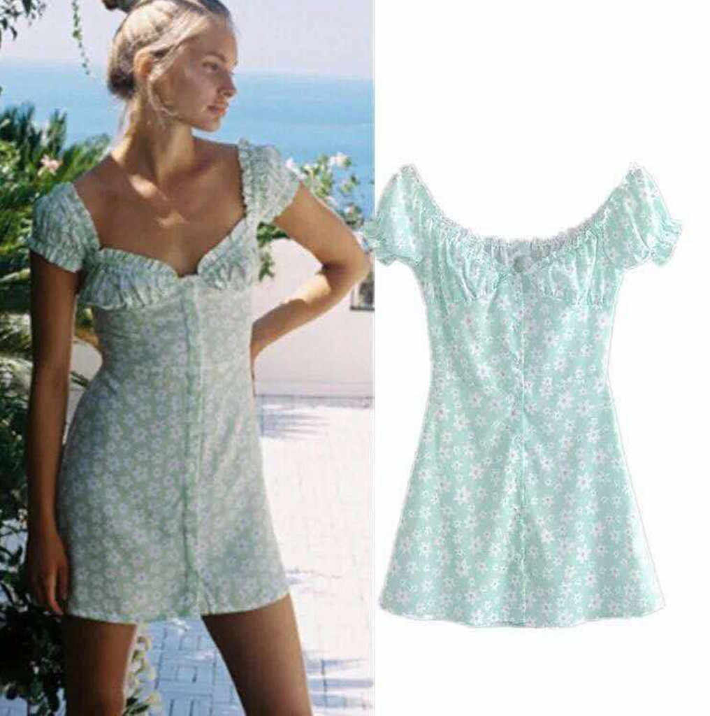 Fashion Women summer dress Printing Short Sleeve Puff Sleeve Beach Mini Dress casual summer dresses 2019 party dresses vestidos