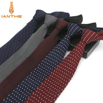 Moda granatowy Slim krawat ślubne dzianiny krawaty dla mężczyzn Skinny krawaty człowiek Gravata poliester wąskie dzianiny Brand New 6cm krawaty tanie i dobre opinie IANTHE Dla dorosłych Szyi krawat IA183 WOMEN Jeden rozmiar