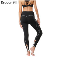 Dragon Fit New Black Lace Up Yoga Pants Women Highly Stretch Fitness Tight Women Sports Running
