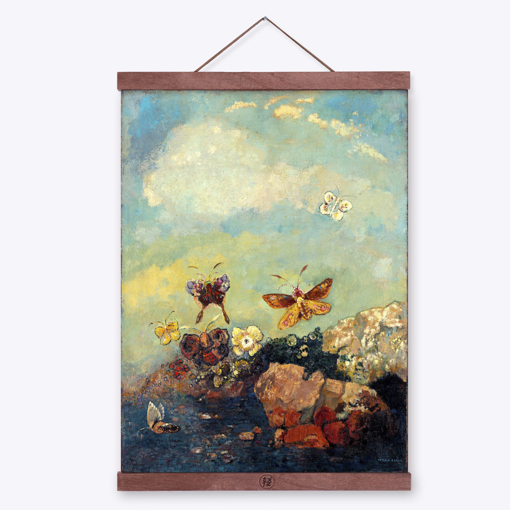 Odilon Redon Fantasy Abstract Butterfly Wooden Framed -2336