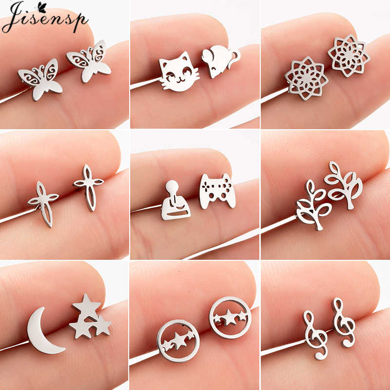 Jisensp Fashion Black Stainless Steel Butterfly Earrings for Women Kids Jewelry Cute Cat Flower Star Moon Stud Earrings Ohrringe