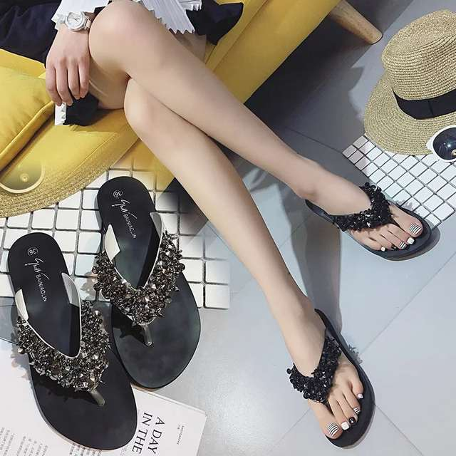 a31c21748575cd Summer Shoes Woman Rivet Glitter Designer Platform Sandals Women Bling  Bling Flip Flops Black Silver