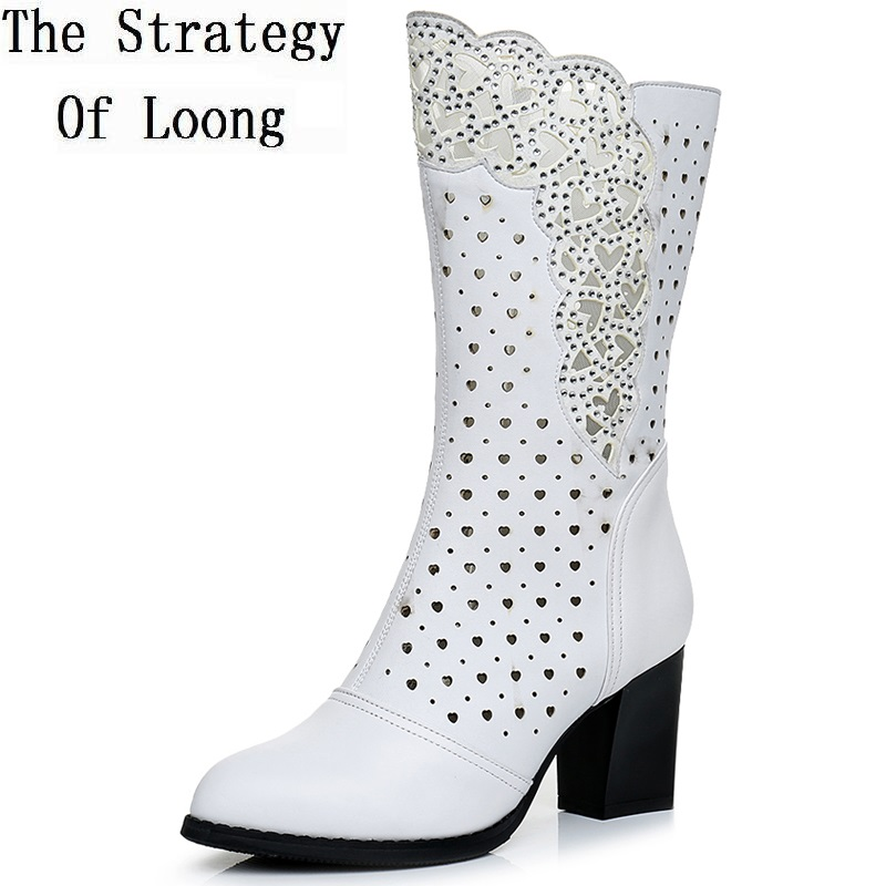 2019 New Arrival Spring Autumn Fashion Genuine Leather Cut Out Crystal Thick High Heels Half Boots