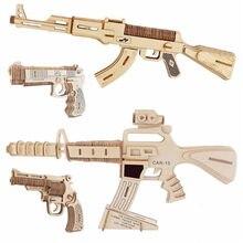 Деревянный пазл с лазерной резкой «сделай сам», модель 3D ручной сборки, пистолеты, пулеметы, винтовки для детей, мальчиков, игрушка для любви...