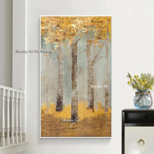 Large Size Abstract Painting Art Handpainted Golden Colorful Wall  Artwork Home Decoration Best Gift