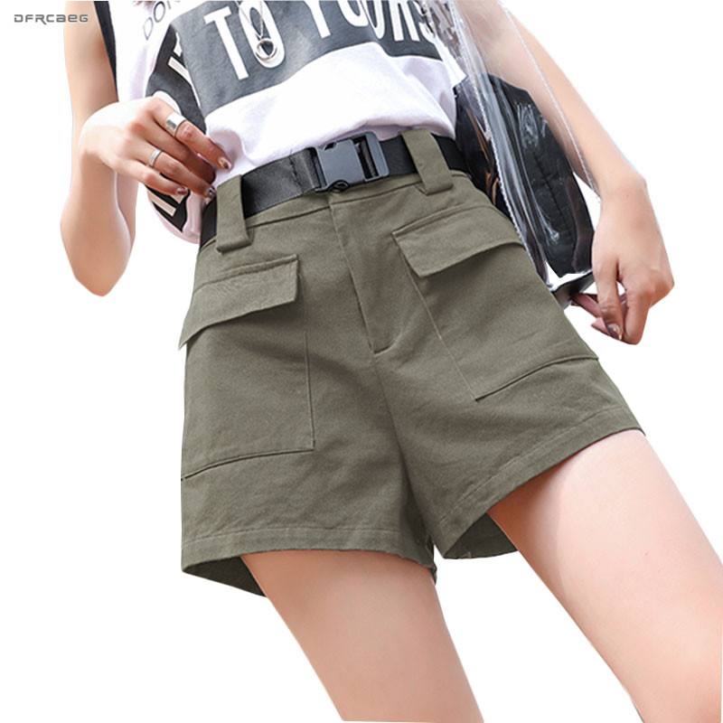 BF Style Plus Size Summer Cargo Shorts With Belt 2019 Fashion Elastic Waist Streetwear Loose Pocket  Wide Leg Shorts Femme 3XL pocket