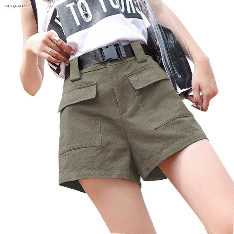 BF Style Plus Size Summer Cargo   Shorts   With Belt 2019 Fashion Elastic Waist Streetwear Loose Pocket Wide Leg   Shorts   Femme 3XL