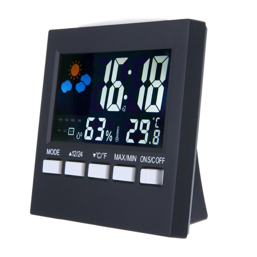 Multi-functional Digital Thermometer Hygrometer Colorful LCD Clock Alarm Snooze Function Calendar Weather Forecast Display