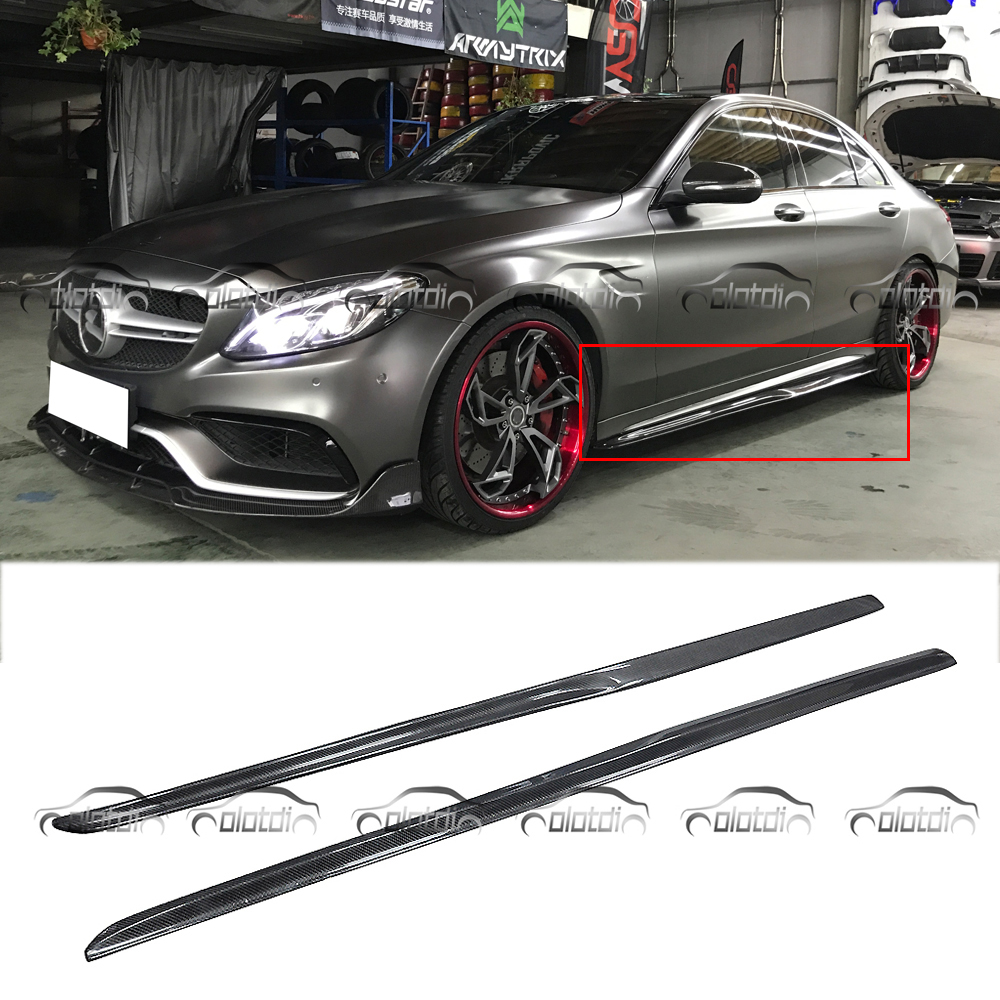W205 PSM Style Car Styling Carbon Fiber Side Skirts Extension Lip Body Kits For Mercedes Benz W205 4 Door C200 C250 C43 C63 C180