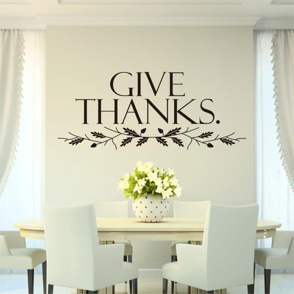 Free Shipping Give Thanks Art Quote Home Decor Stickers Christian Family Wall Decal DIY