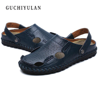 100 Genuine Leather Men S Sandals New Famous Brand Casual Men Sandals Slippers Summer Shoes Beach