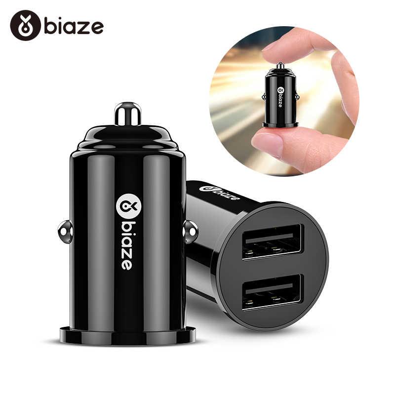 Biaze 3.1A المزدوج USB شاحن سيارة مصغرة USB شواحن العالمي ذكي شحن السيارات شاحن آيفون سامسونج الهاتف المحمول