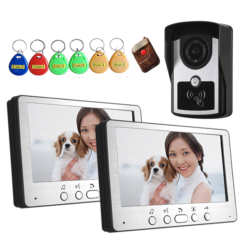YobangSecurity 7Inch Monitor Wired Video Doorbell Door Phone Intercom RFID Access Control Camera Monitor KIT For Home Security 7 inch password id card video door phone home access control system wired video intercome door bell