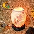 Moda criativa lâmpada de cabeceira quarto luz da noite de cerâmica ajustável candeeiro de mesa de cristal de sal Do Himalaia lâmpada Olho