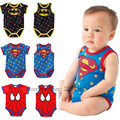 Short sleeved Summer Infant climbing clothes Sleeve free Triangle pants Spider Man cartoon Children's clothing One-piece garment