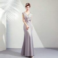 Elegent Evening Dress Women V Neck Evening Gown Bow Sashes Wedding Party Gown Formal Dress 2019 Robe De Mariee