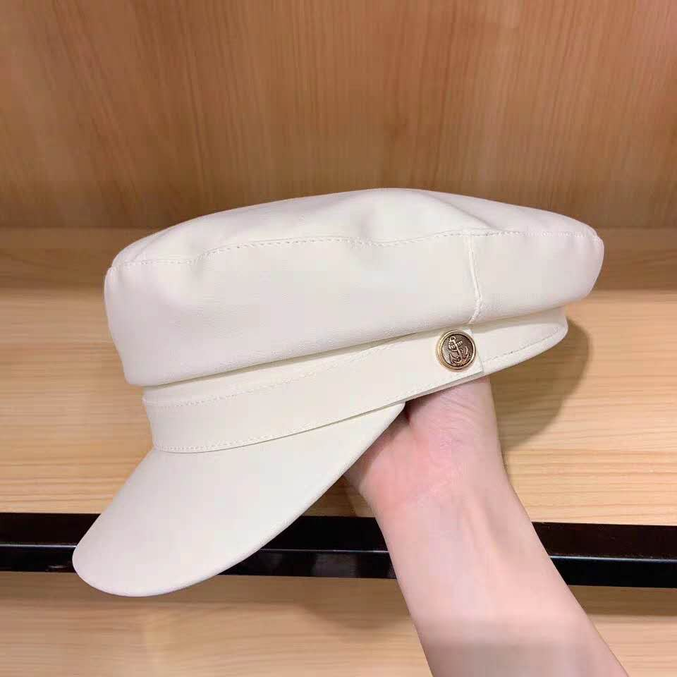 Women Military Hat Imitation Cowhide Sailor Military Cap Women's Flat Top Black Cap Fashion Winter Hats For Women Newsboy Hats