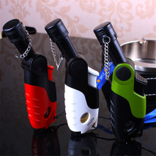 Four-Hole Super Jet Flame Rotatable 1300-C Butane Turbo Torch Cigar Lighter NO GAS Random Color Cigarette