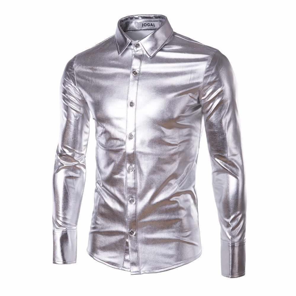 Los hombres de tendencia de Club de noche de oro metálico de plata azul escenario brillante de moda Vestido de manga larga, camisas para hombres