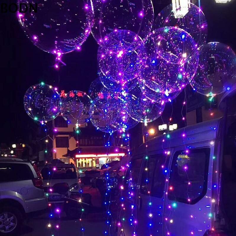 20 Pcs Led Luminoso Balão Bolha Claro BOBO Limpar LED Luz Balão Balões de Casamento Decoração Fontes do Partido de Aniversário 20 polegada