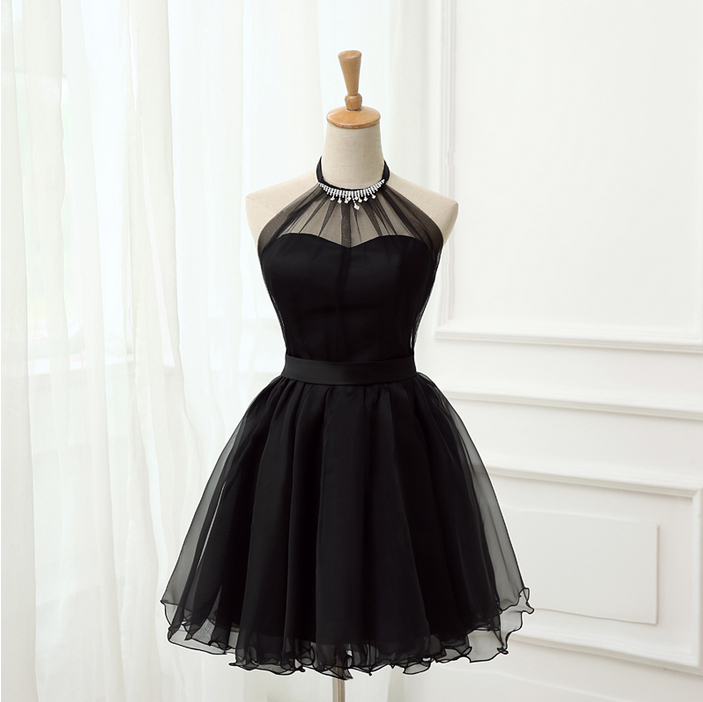 black tulle cocktail dress