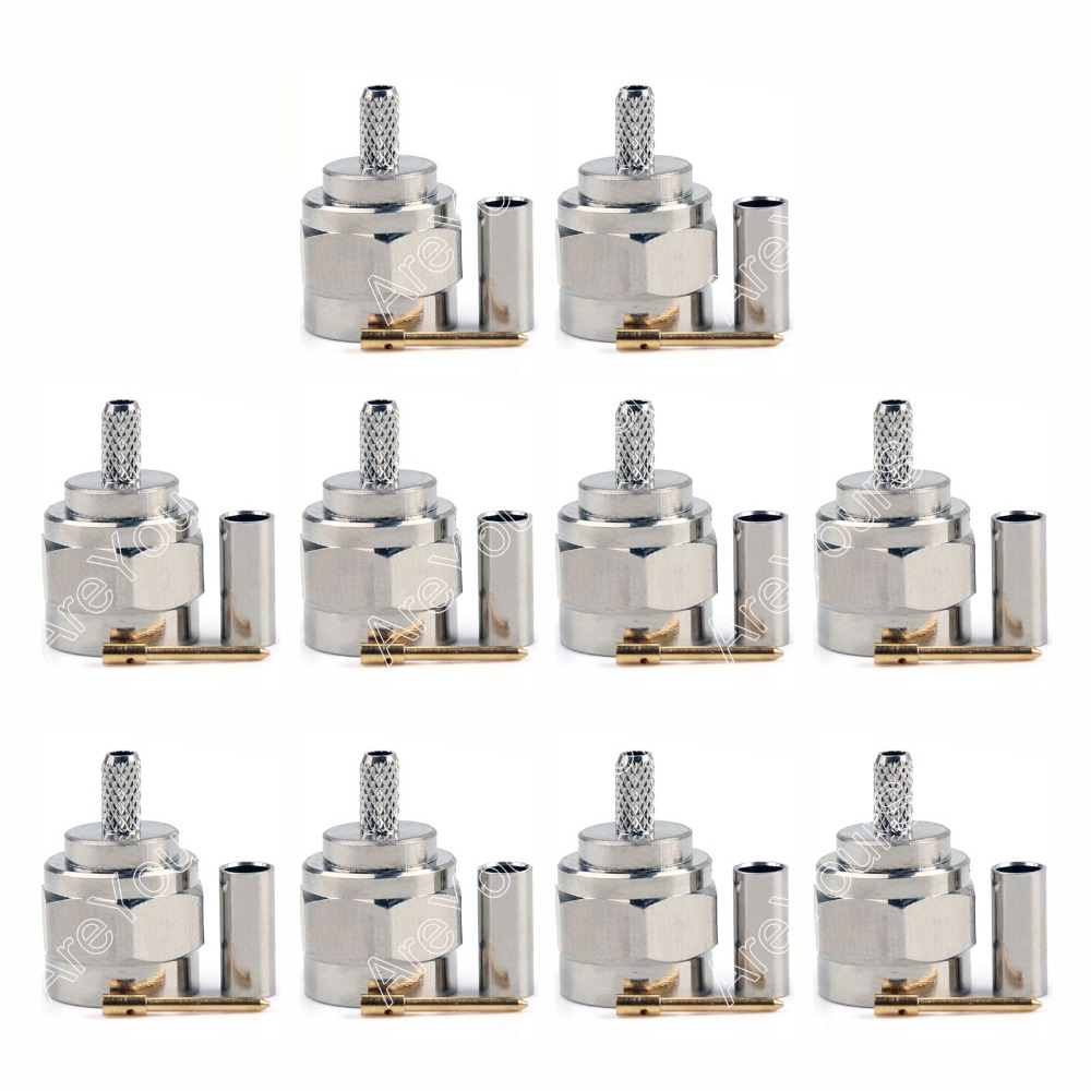 Sale 10 Pcs Connector F Male Plug Crimp RG174 RG316 LMR100 Cable Straight PTFE Wire Connector High Quality minijack plug dhl ems 2 lots 100pcs connector sma male plug crimp rg174 rg316 lmr100 cable straight d2